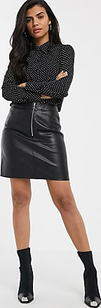 Warehouse faux leather skirt with seam detail in black