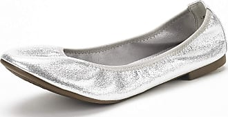 Dream Pairs Womens Slip On Round Toe Ballerina Ballet Flats Pumps Shoes Latte Silver Size 7.5 US/5.5 UK