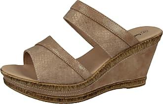 Cushion-Walk Ladies Leather Lined Peep Toe Mid Wedge Heel Slip On Mules Sandals Size 3-8 (6 UK, Beige/Snake)