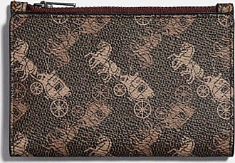 Coach Bifold Zip Card Case With Horse And Carriage Print in Brown