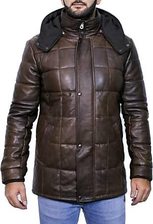 Leather Trend Italy Piumino Lungo - Giacca Uomo in Vera Pelle colore Testa di Moro