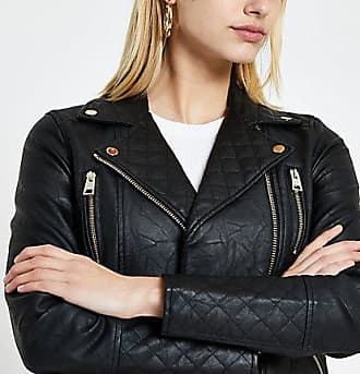 River Island Womens Black faux leather quilted biker jacket
