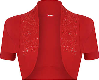 WearAll New Ladies Plus Size Beaded Shrug Womens Short Sleeve Bolero Cardigan Top Red 16/18