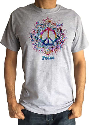 Irony Mens T-Shirt CND Peace Flowery Colour Gradients Print TS1320 (Grey, Medium)