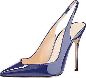 EDEFS Womens Shoes Slingback Stiletto Heels Dress Court Pumps Blue Shoes Size EU40