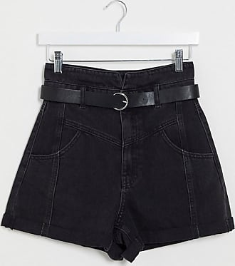 Stradivarius front yoke short with faux leather belt in black