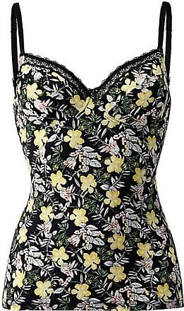 Madeleine BH-Hemd mit Blütenprint und Spitzen-Akzenten Damen schwarz/multicolor / gelb
