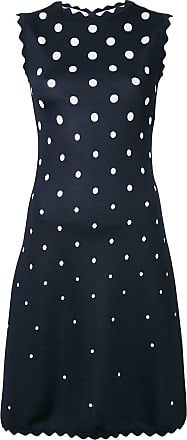 Oscar De La Renta scalloped polka dot shift dress - Black