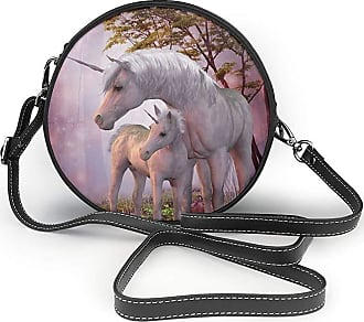 Turfed Narrow Unicorns Under The Trees Print Round Crossbody Bags Women Shoulder Bag Adjustable PU Leather Chain Strap and Top Zipper Small Handbag Handle To