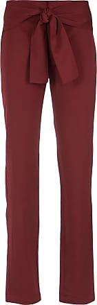 Uma Calça reta com amarração - Vermelho
