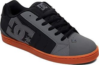 DC Shoes Net - Leather Shoes for Men - Nubuck and Leather Upper Foam Padded Tongue and Collar Ventilation Holes Pill Pattern Tread Cupsole Construction
