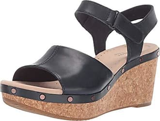 Clarks Womens Annadel Clover Sandal, Navy Leather, 5.5 M US