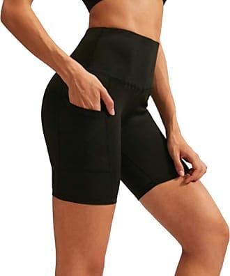 YYW Women Sports Shorts Medium Waist Yoga Running Shorts Tummy Control Workout Leggings with Side Pocket (Black,L)