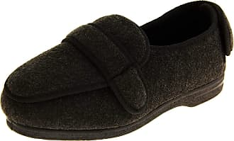 Footwear Studio Coolers Mens CosyComfort 203 Adjustable Orthopaedic Slippers - Grey - 11 UK