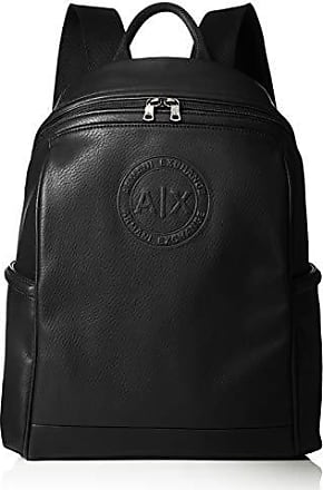 A|X Armani Exchange Armani Exchange Mens Circular Embossed Logo Backpack, nero, ONE SIZE
