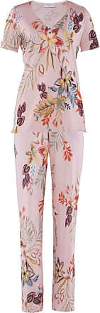 Avena Damen Supersoft-Schlafanzug Blumendessin Rosé geblümt Gr. 38, 40, 42, 44, 46, 48