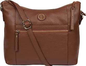 Pure Luxuries London Pure Luxuries London Sequoia Womens 32cm Biodegradable Leather Shoulder Bag with Crescent Shaped Zip Over Top, 100% Cotton Linning and Adjustable Leat