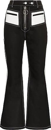 Ellery Pedestrian PVC pocket flared cotton blend trousers - Preto