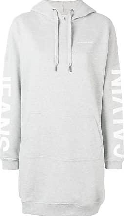 Calvin Klein Jeans logo print hoodie dress - Grey
