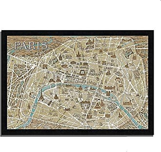 Tangletown Fine Art Monuments of Paris Map by Wild Apple Portfolio Framed Art, Taupe