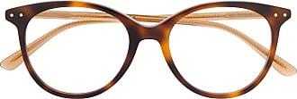 Bottega Veneta Armação de óculos redonda com efeito tartaruga - Marrom