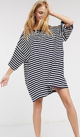Weekday Huge - Oversize-T-Shirt-Kleid aus Bio-Baumwolle in Marine und Weiß gestreift-Navy