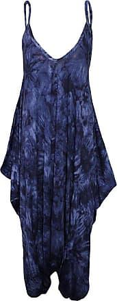Islander Fashions Womens Plus Size Spaghetti Strap Jumpsuit V Neckline Loose Harem One Piece Romper (1X-Large, Tie Dye Navy)