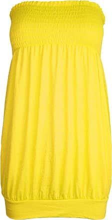 Be Jealous Womens Ladies Celeb Casual Plain Sheering Baggy Jersey Vest Bandeau Boobtube Top/Color: NEON Yellow/Size: M-L