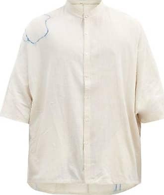 11.11 / eleven eleven 11.11 / Eleven Eleven - Stand-collar Floral-print Cotton Shirt - Mens - Cream