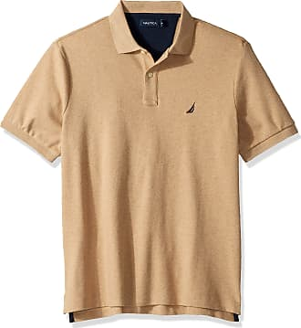 Nautica Mens Classic Fit Short Sleeve Solid Soft Cotton Polo Shirt, Coastal Camel Heather, Large