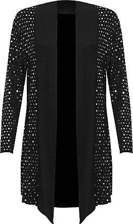 Islander Fashions Womens Polka Dot Sequin Waterfall Open Drape Cardigan Plus Size Long Sleeve Top Silver UK 14