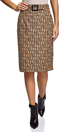 oodji Collection Womens Printed Pencil Skirt, Beige, UK 16 / EU 46 / XXL