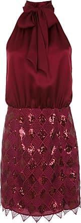 Tufi Duek Vestido curto com seda e paetê - Vermelho