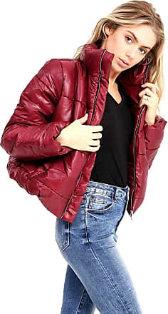 Generic Ladies Puffer Crop Bubble Zip Womens Padded Quilted Jacket Coat Top Wine