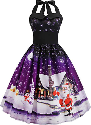 FeelinGirl Womens 1950s Vintage Dress Sleeveless Halter A Line High Waist Evening Gown Dress Santa Claus Printing Splice Party Cocktail Casual Dress Purple XL