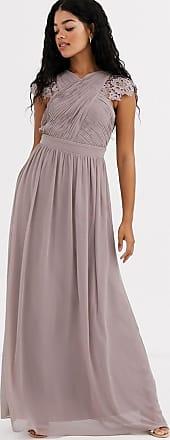 Little Mistress lace insert drape maxi dress in oyster-Brown