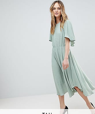 Y.A.S. Tall Floaty Midi Dress With Gold Dot Print-Green