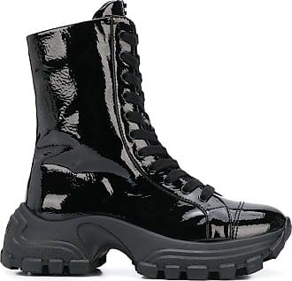 Miu Miu patent leather lace-up boots - Preto