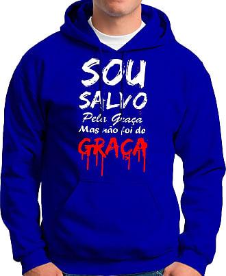 Atelier do Silk Moletom Canguru Flanelado Capuz Evangélico Salvo Pela Graça Cor:Azul;Tamanho:GG