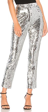 Milly Sequins High Waist Skinny Pant in Metallic Silver