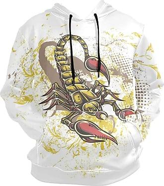 NaiiaN Hooded Sweatshirt Dangerous Scorpion with Pocket Cup Casual Mens Hoodie Long Sleeve Pullover Graphic Print