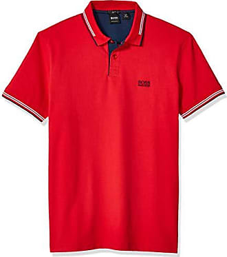 HUGO BOSS BOSS Green Mens Paul Short Sleeve Pique Polo Shirt, Bright Red, S