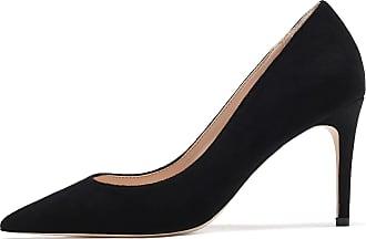 EDEFS Womens Pointed Toe Suede Shoes Slip On High Heel Court Shoes Dress Pumps Black EU45/UK10.5