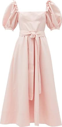 Self Portrait Self-portrait - Belted Puff-sleeve Taffeta Midi Dress - Womens - Light Pink