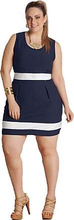 Quintess Vestido Bicolor Plus Size Azul Marinho e Branco Quintess tamanho:g