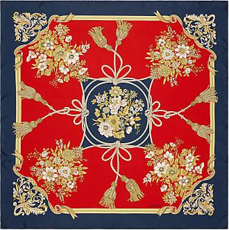 Gucci Carré in seta con stampa fiori e nappine 225a62c1681