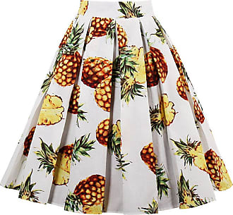 EUDOLAH Womens Vintage Floral Swing Full Circle Pleated Skirts Pineapple2XL