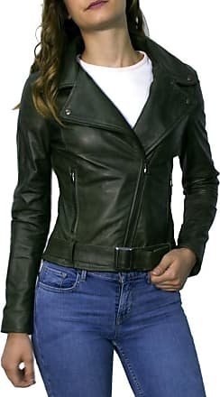 Leather Trend Italy Chiodo Donna - Giacca in Vera Pelle con Cintura colore Verde