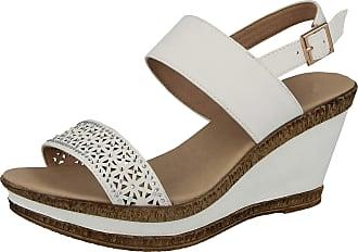 Cushion-Walk Ladies Leather Lined Wedge Peep Toe Strappy Summer Sandal Size 3-8 (8 UK, White E)