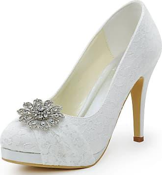 Elegantpark HC1413P Ivory WomensWedding Party Closed Toe Rhinestones Platform Stiletto Heel Lace Bridal Wedding Shoes UK 8(EU 41)